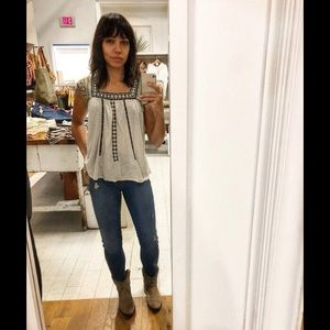 lucky brand Tank Top Boho Embroidered Ivory Shirt
